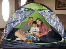 Adoptive Family Photo: Testing Out the New Tent