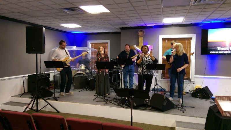 Sarah Singing With the Worship Team at Church