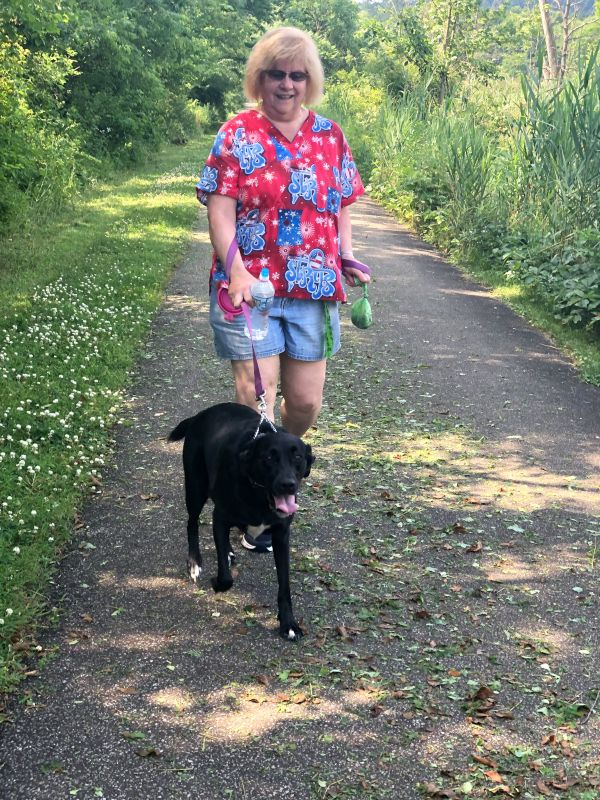 Ann's Mom Taking Our Dog, Betty, for a Walk
