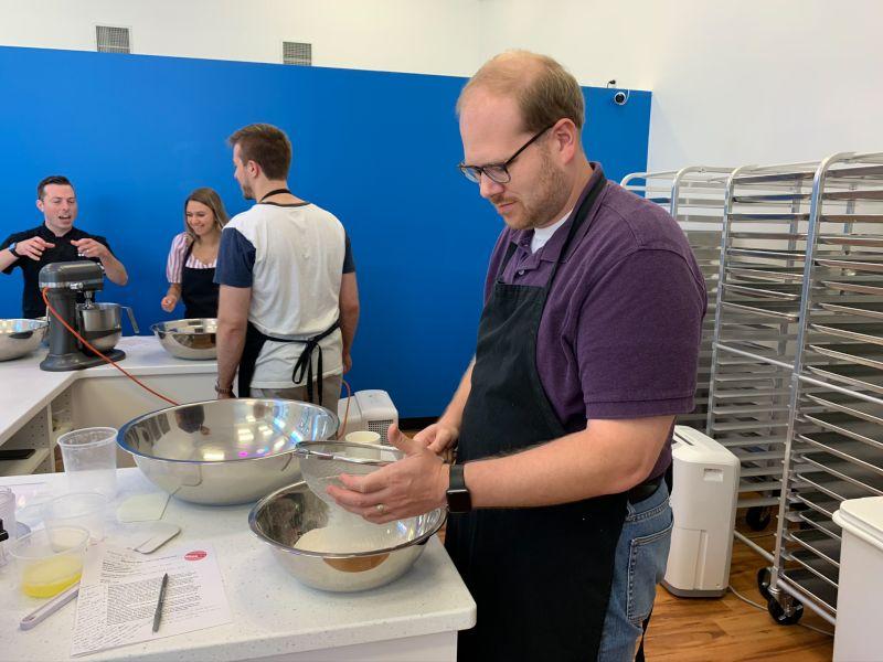 Sifting Flour at a Macaron Baking Claass