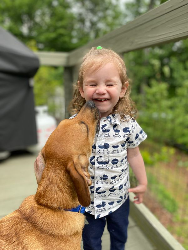Our Dog, Sam, & a Friend's Child