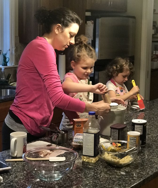 Amy Making Chocolate Muffins With Our Nieces