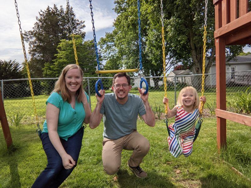 Fun on the Swings in our Backyard